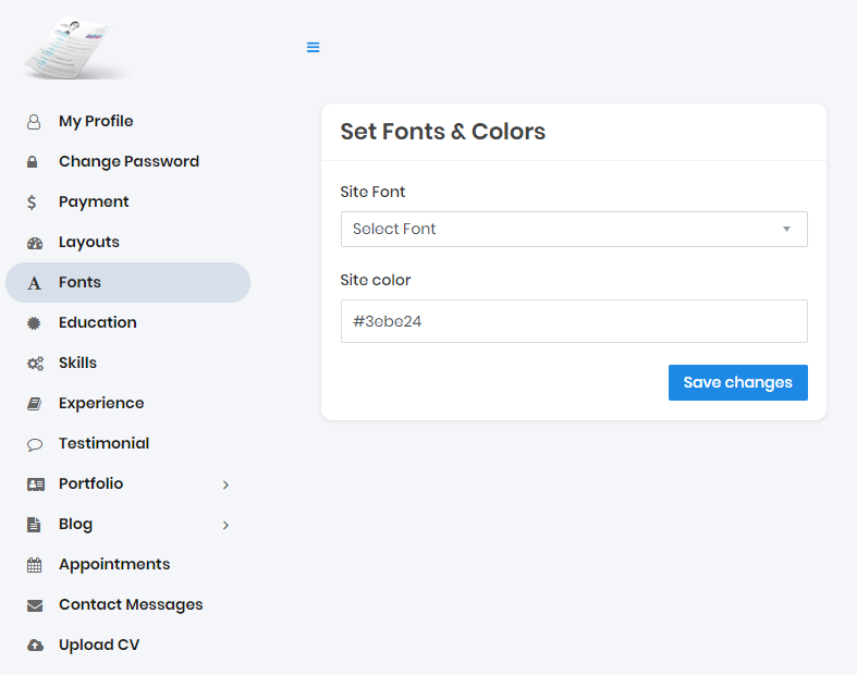 Set Fonts & Color Options